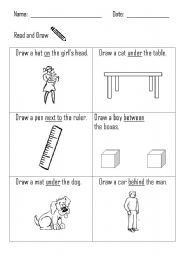 Prepositions - Read and Draw
