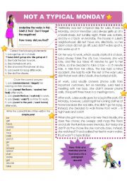 English Worksheets: A BAD DAY - SIMPLE PAST READING
