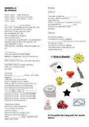 English Worksheets: Umbrella by Rihanna