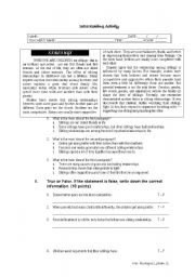 English Worksheets: Reading comprehension SIBLINGS RELATIONSHIPS