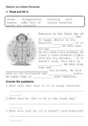 Weather clother reading fill in - ESL worksheet by kangaroo1106