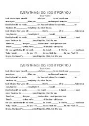 English Worksheets: Everything I do, I do it for you - Bryan Adams