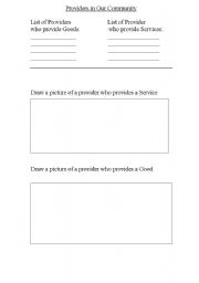 English Worksheet: Providers In Our Community
