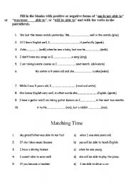 English worksheet: Be able to