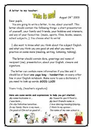 English Worksheets: A letter to my teacher