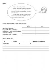 reading and writing worksheet: weather, freetime activities