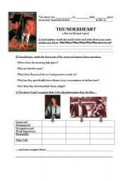 English Worksheets: Thunderheart the movie
