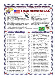 English Worksheets: Worksheet: Prepositions, Connectors, Question words, Feelings,...