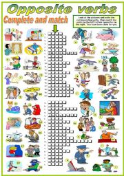 English Worksheet: OPPOSITE VERBS - COMPLETE AND MATCH  2-2 (B&W VERSION INCLUDED)