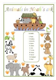English Worksheets: Animals in Noah�s ark