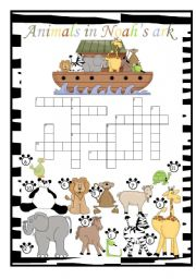 English Worksheet: Animals in Noah�s ark crossword