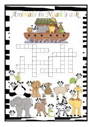 English Worksheets: Animals in Noah�s ark crossword