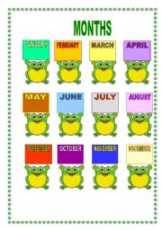English Worksheet: CALENDAR FROGS