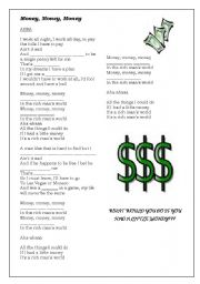 English Worksheet: SONG - Money, money, money (ABBA) + movie Mumma Mia