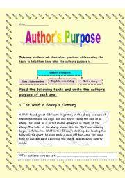 English Worksheets: author�s purpose