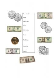 English worksheet: USA Currency & Coins