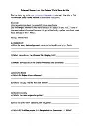 English Worksheet: Guiness World Records Internet research worksheet