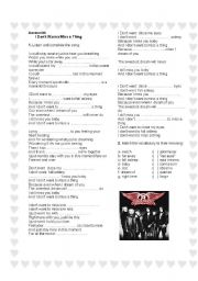 English Worksheet: Aerosmith - I don�t wanna miss a thing