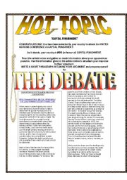 English Worksheet: Hot Topic Debates: CAPITAL PUNISHMENT