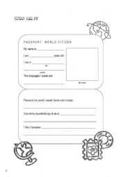 English worksheets who am i world citizen passport for Printable passport template for kids