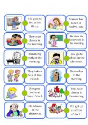 English Worksheets: Domino - Daily routine