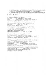 English Worksheets: LAST KISS - PEARL JAM LYRICS AND ACTIVITY