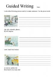 English Worksheet: Guided Writing on my way to school in the rainy day