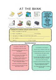 English Worksheet: At the bank