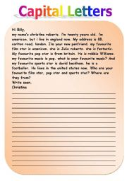 English teaching worksheets: Capital letters