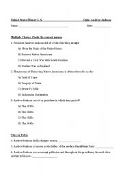 English worksheets: Andrew Jackson Quiz