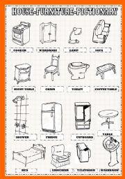 Nice English Worksheet: House Furniture Pictionary