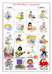 English Worksheet: CAN FOR ABILITY-PICTUNARY