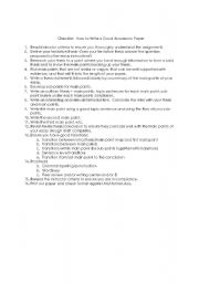 English Worksheets: Checklist:  How to Write a Good Academic Paper