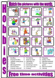 English Worksheets: Free_time_activities_matching