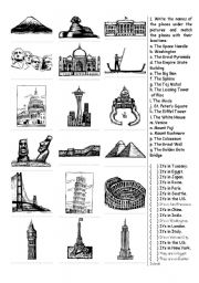 English Worksheet Famous Places Around The World