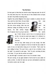 English Worksheets: storytelling two brothers