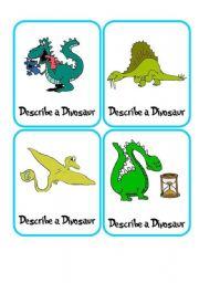 English Worksheet: Describe a Dinosaur ****SUPER GAME/ FLASH CARDS****