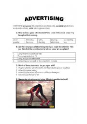 ADVERTISING - conversation lesson (worksheet)