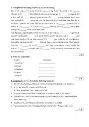 Grammar exercises - tenses, articles, modals