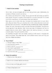 English Worksheets: Reading- Comprehension