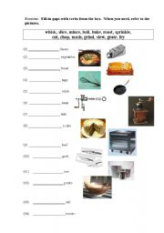 English Worksheet: gap fill-in exercise for vocabulary lesson on cooking verbs
