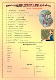English Worksheets: Relative clauses with who, that and which.