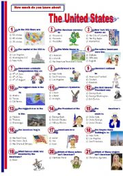 English Worksheet: The United States - Quiz