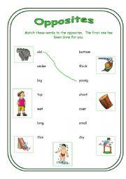 English worksheet: Opposites (Matching worksheet)