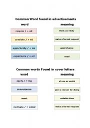 English Worksheet: common words in advertisements for jobs and common words in cover letters
