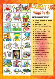 English Worksheet: AMUSEMENT PARK / FAIR: THINGS TO DO
