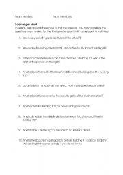 English Worksheets: Scavenger Hunt (Korean students)