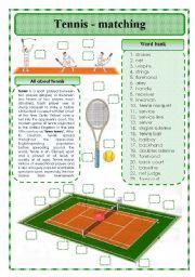 English Worksheet: Tennis-matching exercise
