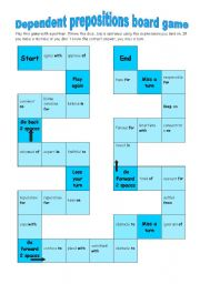 English Worksheet: Dependent prepositions board game