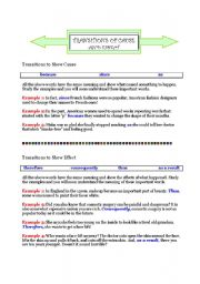 English Worksheet: Transitions of Cause and Effect: Examples and Exercises